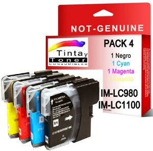 4-Cartuchos-tinta-nonoem-brother-LC1100-LC980-DCP-375CW-377CW-385C-395CN-585CW