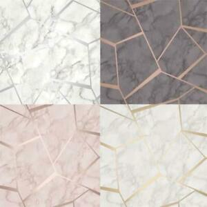 Fine-Decor-Fractal-Geometric-Marble-Metallic-Wallpaper-Rose-Gold-Silver-Charcoal