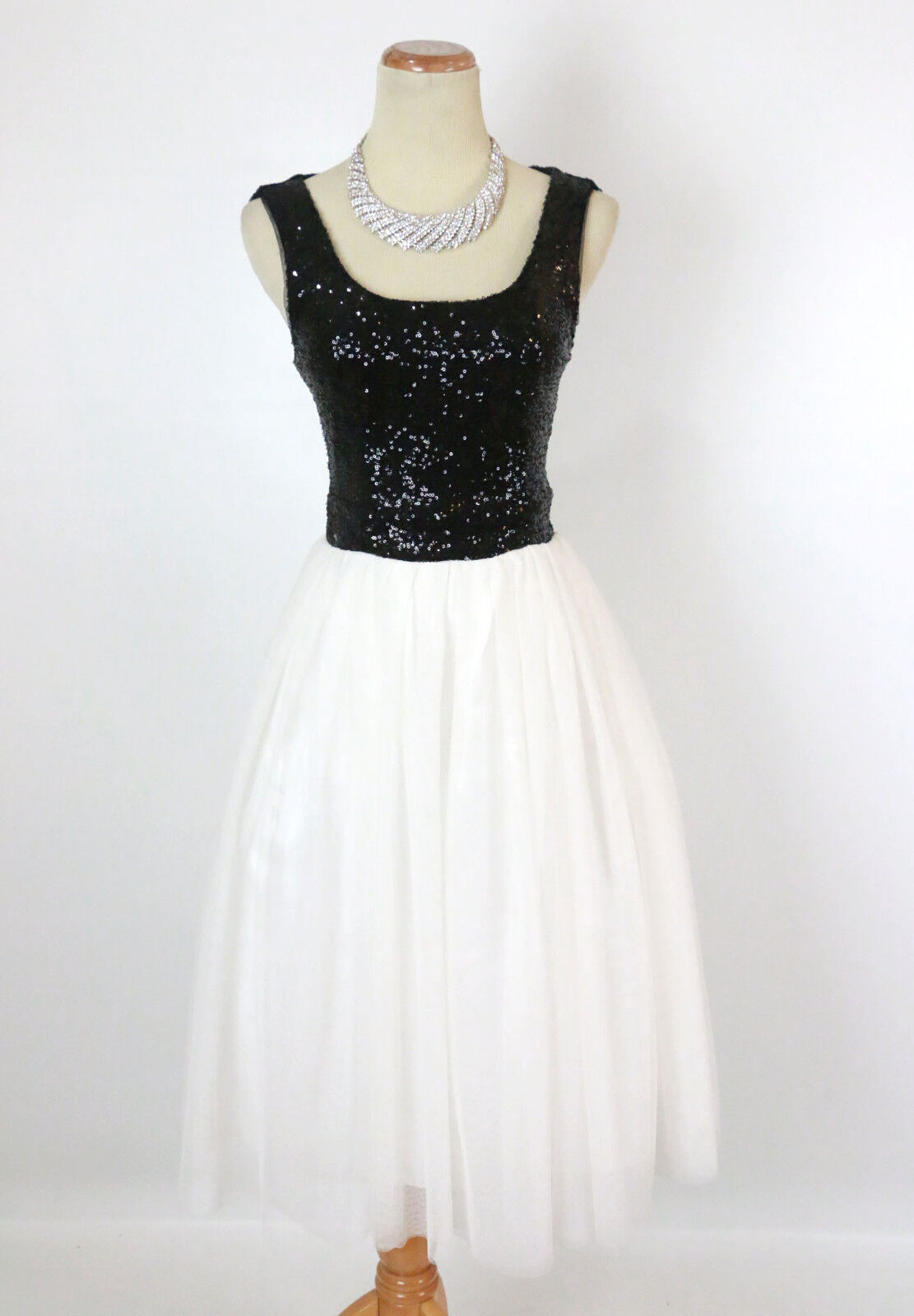 NEW Windsor  schwarz   Ivory Sequins Strapless Evening Cocktail Dress Größe 5