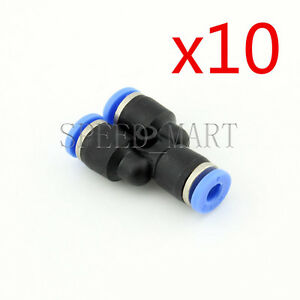 10 pcs Y Type PY4 Pneumatic Air 3 Way Quick Fittings Connector 4mm Tube Hose