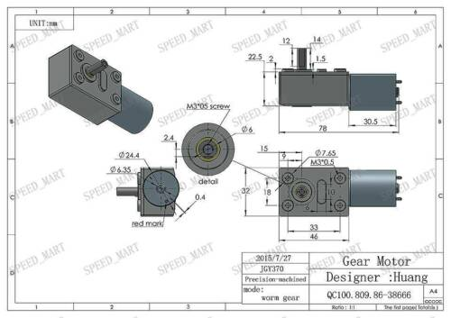 Reversible High torque Turbo worm Geared motor DC motor GW370 12V 3rpm