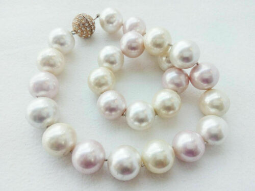 Genuine south sea mother of pearl necklace 16mm shell round marking supply