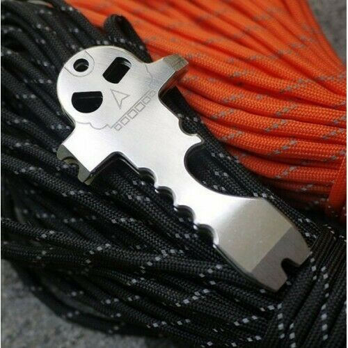 Skull Micro Pry Widgy Bar Keyring Stainless Steel Bushcraft survival