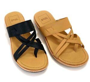 9d603d874 Teva Women s Encanta Black   Tan Leather Slide Sandals Mlt. size