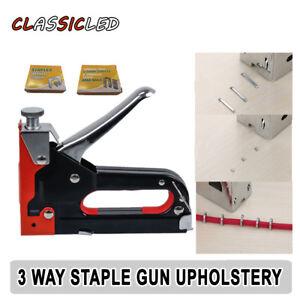 Heavy Duty Staple Gun Tacker Upholstery Stapler For Wood Kit Nailer