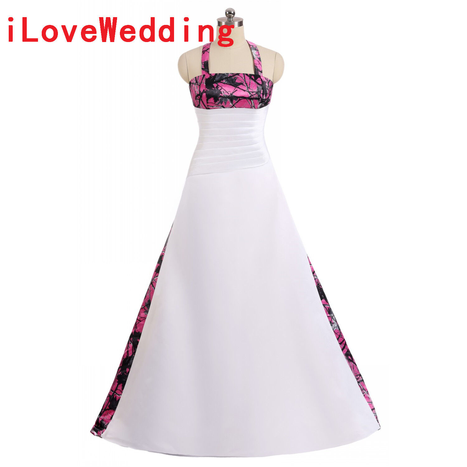 New Camo Wedding Dresses Halter Ball Gown White Fuchsia Camouflage Bridal Gowns Ebay