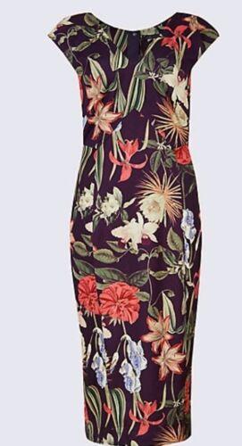 M/&S CollectionFloral Print Asymmetric Bodycon Midi Dress UK Size 14