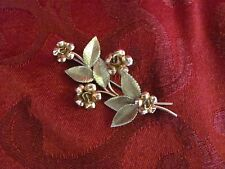 """Krementz gold plated two toned rose leaf brooch 2.5"""" long green gold"""