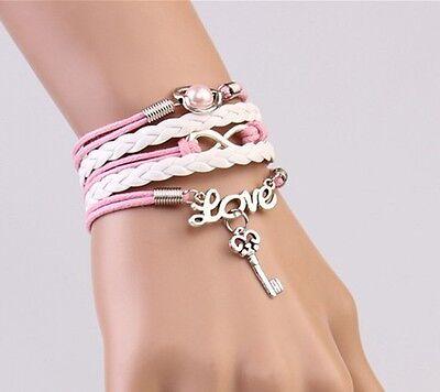 NEW Infinity Pearl Heart Key Friendship Leather Charm Bracelet Silver Cute !!!!!