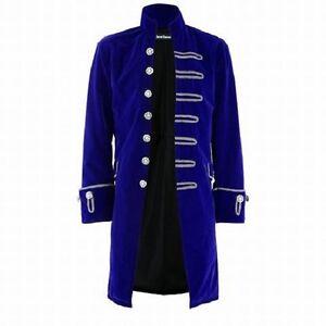 Medieval & Renaissance Mens Velvet Goth Steampunk Victorian Frock Coat Blue