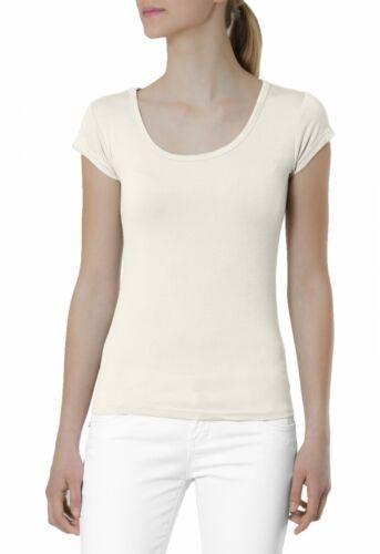 Caspar srt005 da Donna a Maniche Corte T Shirt Top Top STRETCH TINTA UNITA TINTA
