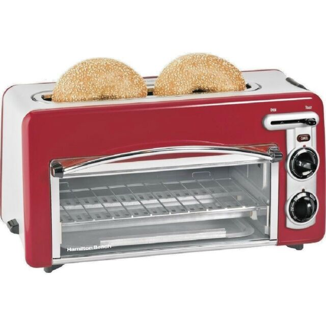 Combination Toaster Oven & Two Slice Toaster Small Red Kitchen Appliance  GIFT
