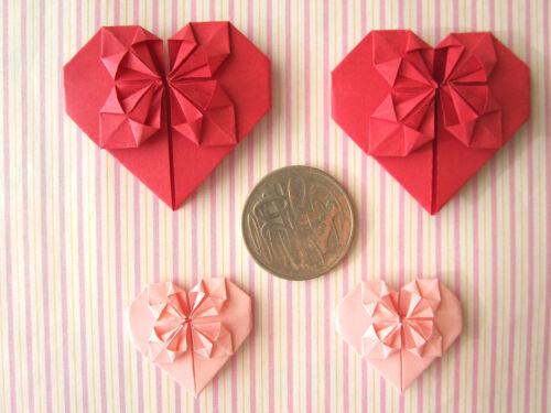 4 X HANDMADE ORIGAMI LOVE HEART
