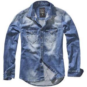 brandit camicia uomo  BRANDIT Camicia uomo jeans Vintage Riley Denim shirt Blue   eBay