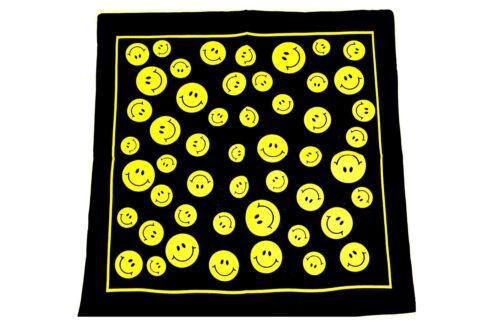 SMILEY HIPPY FANCY DRESS 100/% COTTON HEADWEAR SCARF WRAP MENS BOYS NECKERCHIEF