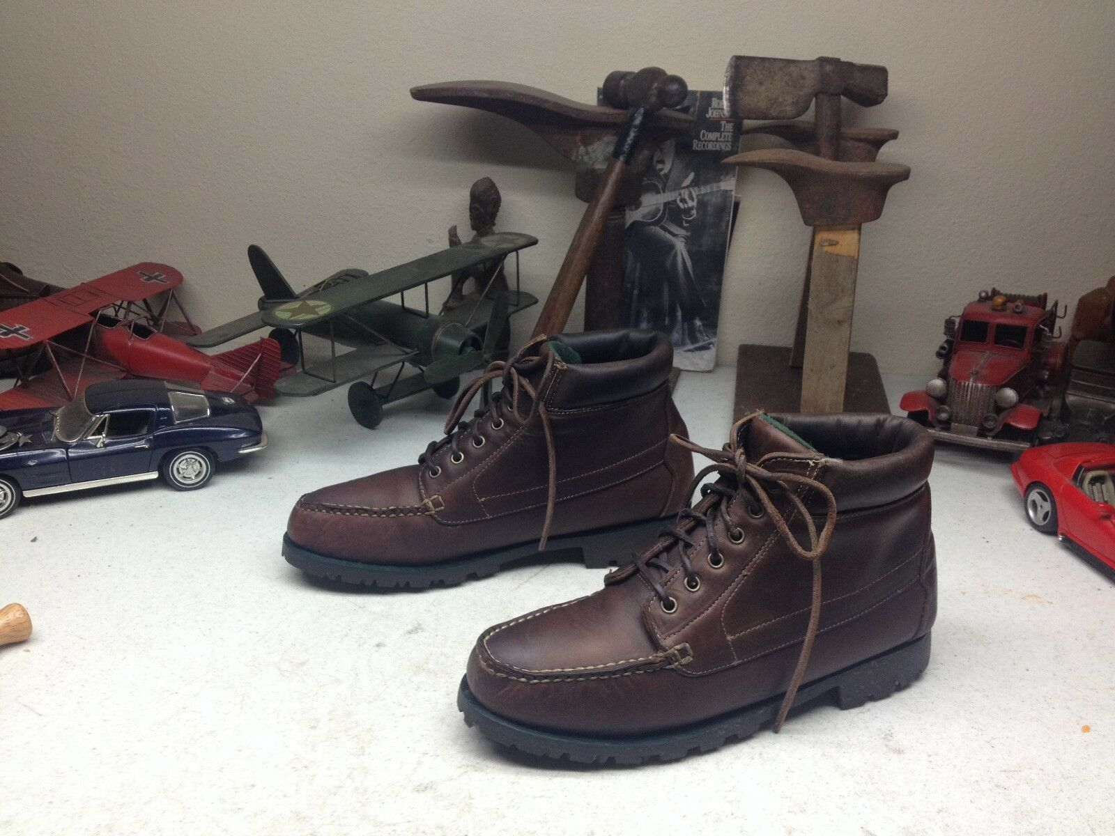 DISTRESSED RUSTIC H-H BROWN LEATHER LACE UP TRAIL HIKING ANKLE BOOTS 8.5M