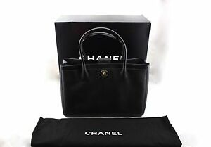 c7bdf2f1c1a7 Image is loading CHANEL-Grand-Shopping-Executive-Tote-Black-Leather-Gold-