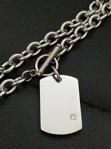 Da-Uomo-Personalizzato-trama-grossa-in-argento-in-acciaio-CZ-DOG-TAG-Collana-di-attivazione