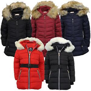 c384fb3f0 Girls Jacket Kids Parka School Coat Padded Bubble Lined Fur Hoodie ...