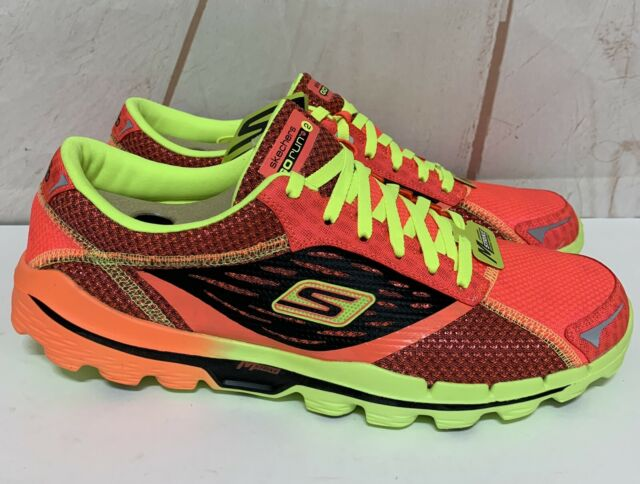 Skechers Go Run 2 Mens Sz 11.5 Red/Lime Running Walking Athletic Shoes  Sketchers