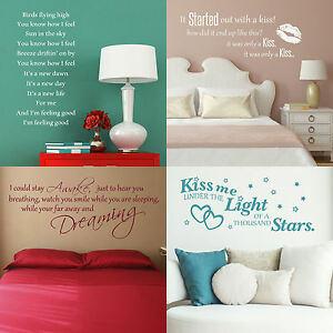 Song Lyric Wall Stickers! Vinyl Transfer Quote Graphic Decal Decor Art Stencil