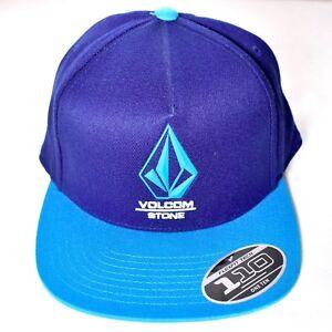 bf4dce7c925 VOLCOM STONE Adjustable Blue Bevel Snapback Hat Cap Flexfit Tech 110 ...