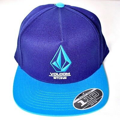 7956d8c46 VOLCOM STONE Adjustable Blue Bevel Snapback Hat/Cap Flexfit Tech 110 ...