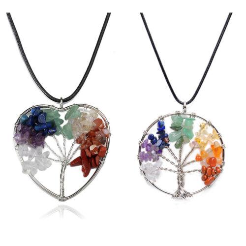 New Tree of Life Necklace Crystal Healing Stone Pendant Rainbow Spiritual Chakra