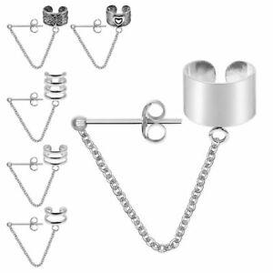 1-Stk-Ohrklemme-925-sterling-Silber-Ear-cuff-Ohrringe-Ohrstecker-Kette-Kettchen