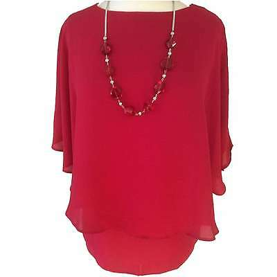 Ladies Double Layered Cape Effect Polyester Batwing Sleeve Blouse With Necklace