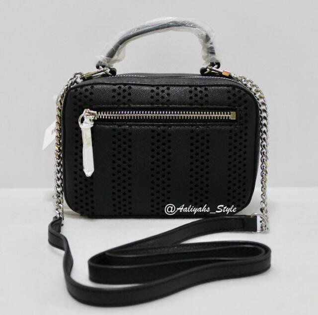 Milly Perforated Stripe Mini Black Cross Body Bag Style 95sp66113 Nwt