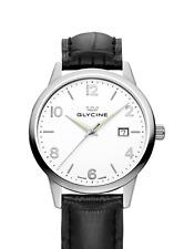 GLYCINE Classic White Black Leather Swiss Made Timepiece NEW!