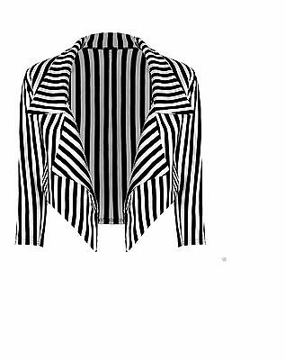 Nouveau Femmes Noir Blanc À Rayures Blazer UK Grande Taille 8-26