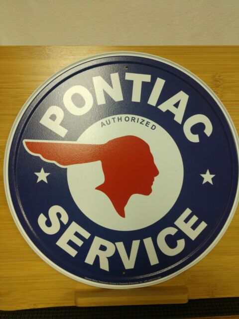 12x12, Pontiac Authorized Service Car Dealer Logo Round Retro Vintage Tin Sign