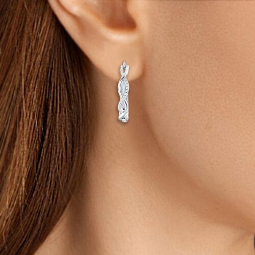 14K White Gold Over Cluster Infinity Ear Studs Earrings WEDDING Day Gift