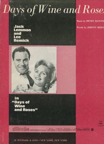 Days Of Wine And Roses Henry Mancini Johnny Mercer  Sheet Music