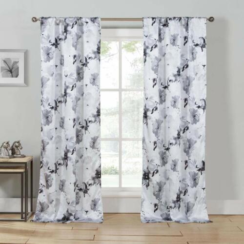 Black  Set of 2 Pc  Window Curtain Drapes  Floral 84L Pole Top Gray White