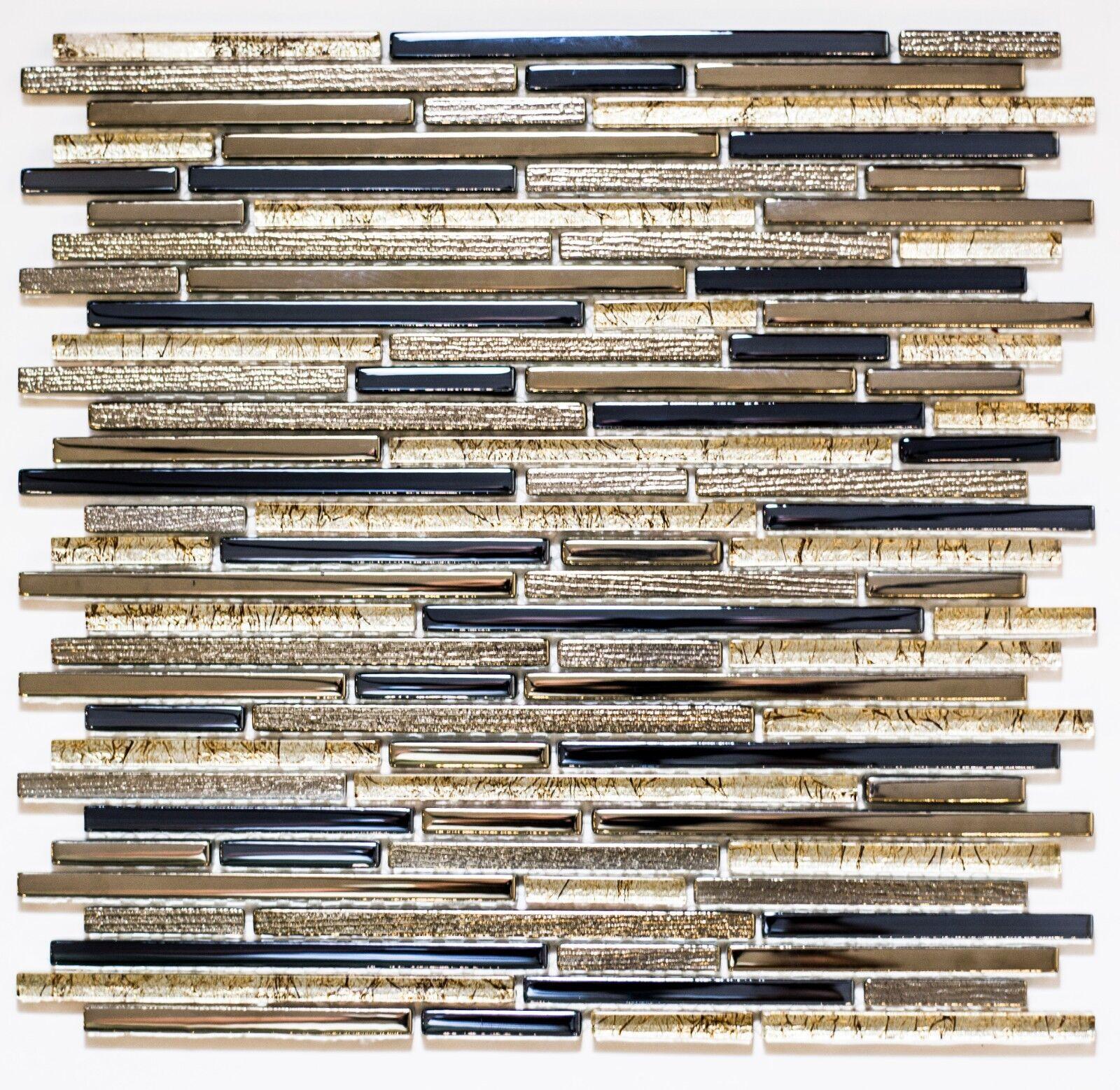 Gold & Blau Glass Mosaic Tiles Kitchen | Bathroom | Wall | 30 x 30 cm | 8mm