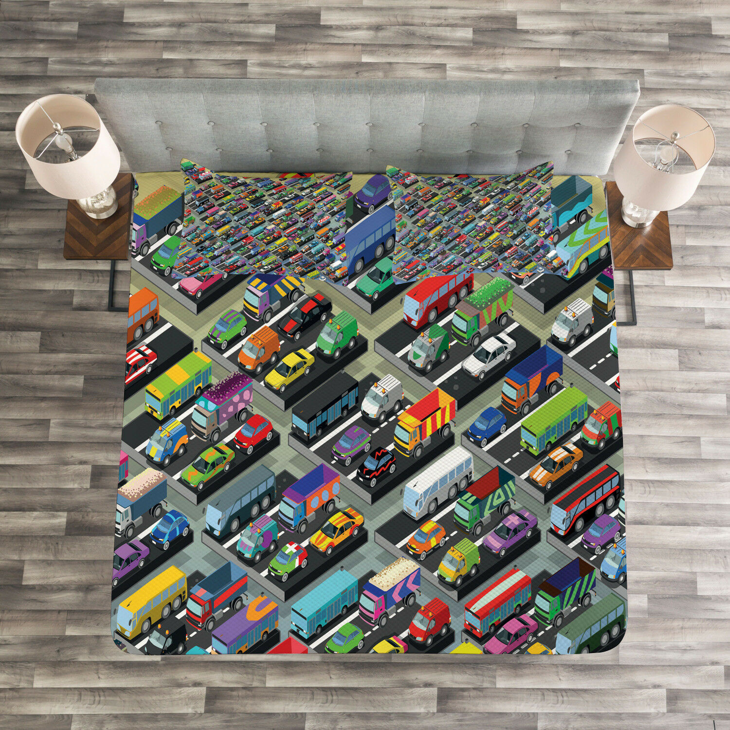 Cars Quilted Bedspread & Pillow Shams Set, Detailed Vibrant Car Park Print
