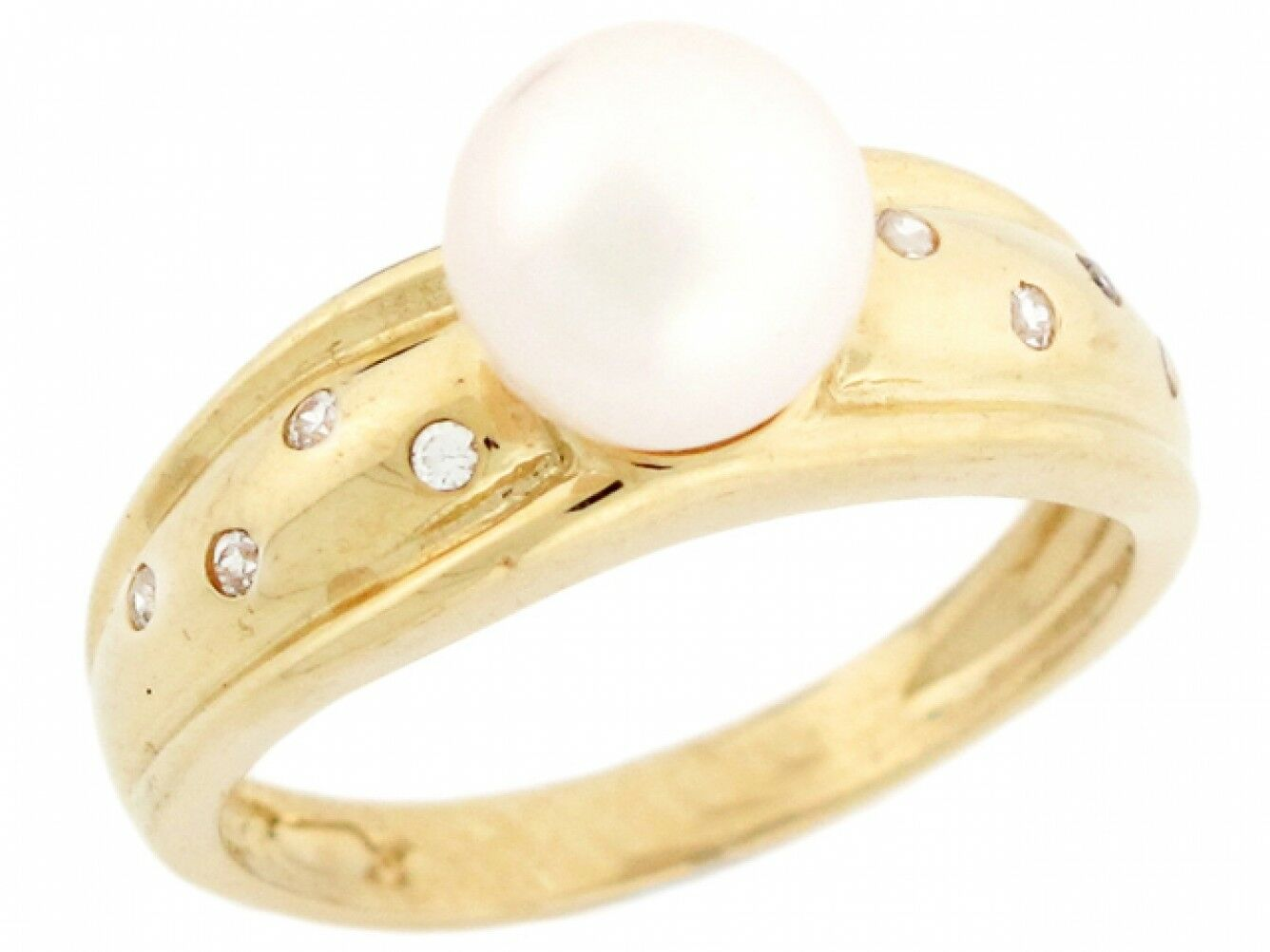 10k or 14k Yellow gold CZ & Freshwater Cultured Pearl Fancy Womens Ring Jewelry