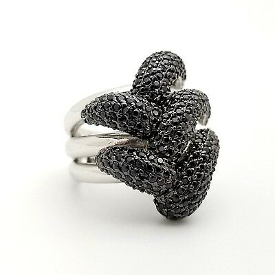 Signed PJC 925 Sterling Silver Pave Black Spinel Accent Flower Band Ring Size 7