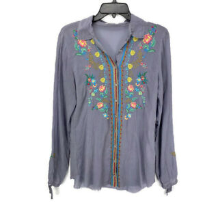 Johnny-Was-Top-Small-Gray-Floral-Embroidered-Long-Sleeve-Button-Down-Blouse-Boho