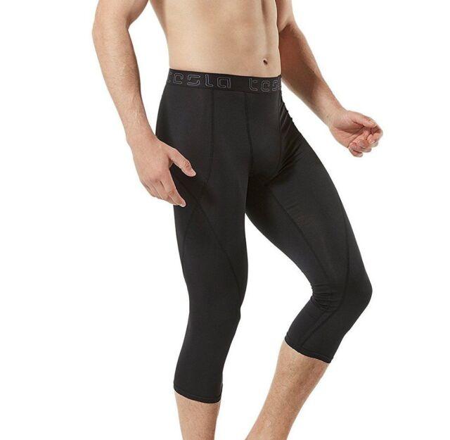 Tesla Men's Compression 3/4 Capri Pants Baselayer Cool Dry ...