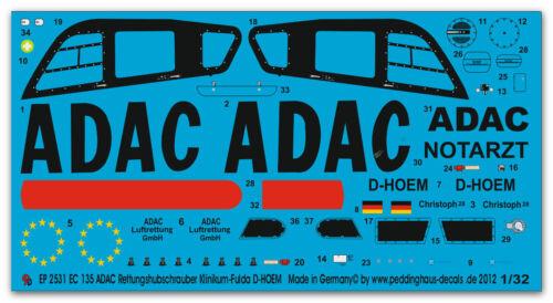 Peddinghaus 2531 1//32 EC 135 ADAC Rettungshubschrauber Klinikum-Fulda 2010 D-HOE