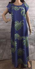 Hawaiian House Dress Blue Green Banana Leaf Floral Design Casual Style - Size 12