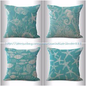 4pcs pillow throw decor cushion covers beach nautical coral seaweed
