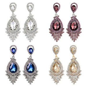 Pierced-Rhinestone-Cluster-Crystal-Sparkling-Diamante-Dangle-Earrings-A341