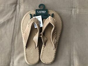 7f72594a0 NWT RALPH LAUREN POLO WOMENS SUEDE LEATHER FRINGE SANDALS FLIP FLOPS ...