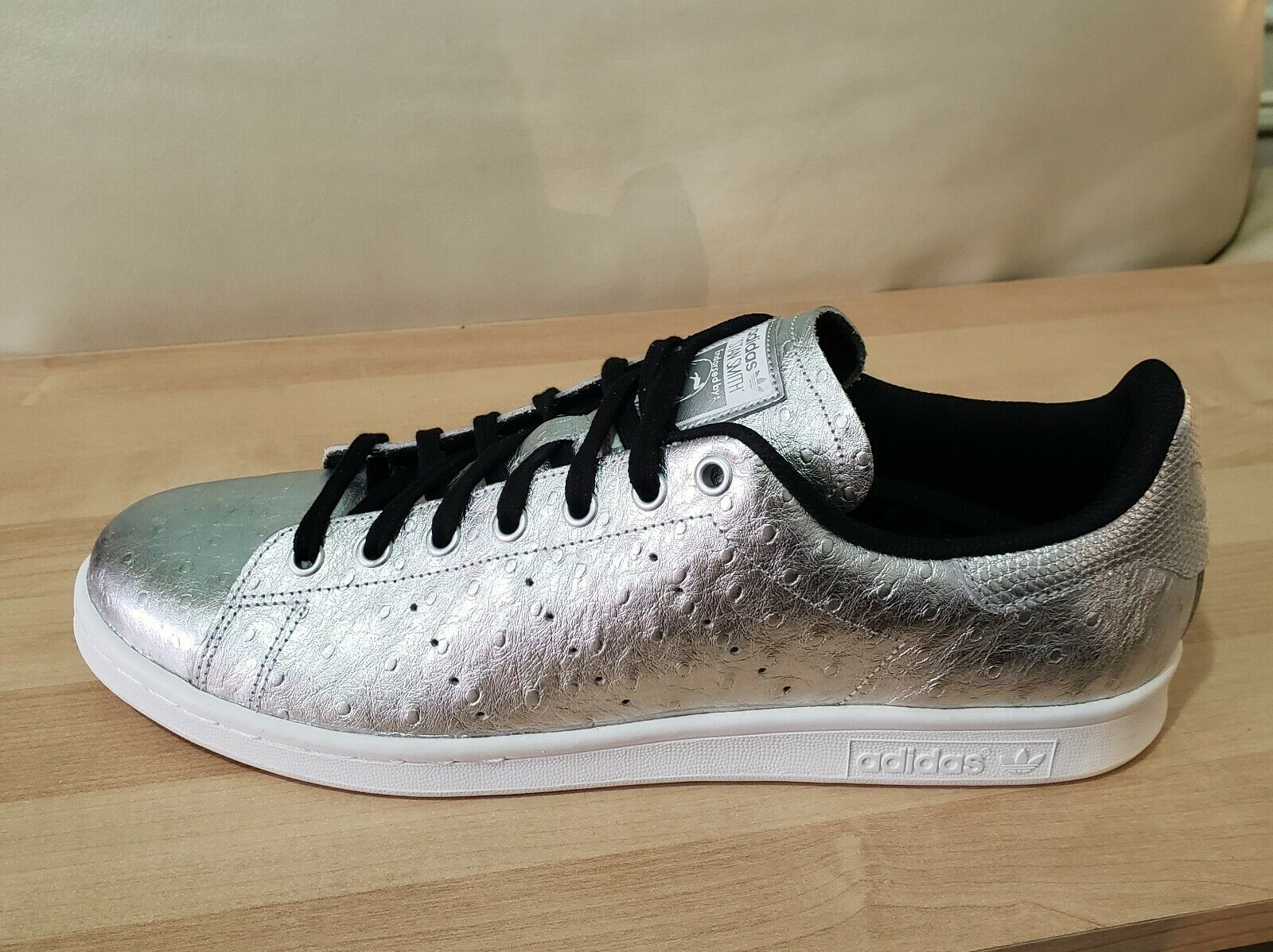 Mens ADIDAS Originals STAN SMITH Metallic Silver sz 13 shoes Ostrich embossed