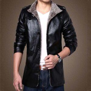 4b6e67cc7 Mens Leather Jacket Plus Velvet Warm Slim Fit Tops Casual Business ...